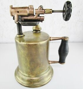 Vintage-Huffman-Mfg-Co-Blow-Torch-No-12-Dayton-Ohio-Brass-w-Wood-Handle
