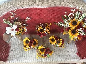 Wedding Flowers Bouquet Bridal Bouquet Pkg Sunflowers With Burgundy 6 Bouquet Ebay
