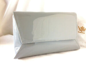 299bec50d366c NEW LIGHT GREY FAUX PATENT LEATHER EVENING DAY CLUTCH BAG WEDDING ...