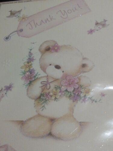 27.5x18cm Brand New Sealed Thank You Greeting Card Teddy Bear Design