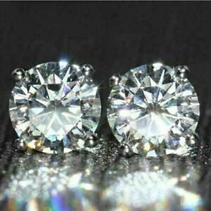 14K-White-Gold-Over-2-00Ct-Round-Gorgeous-Moissanite-Solitaire-Stud-Earrings