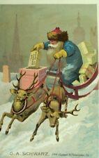 Blue Coat Santa Claus Sleigh, G.A. Schwarz Victorian Christmas Trade Card #F