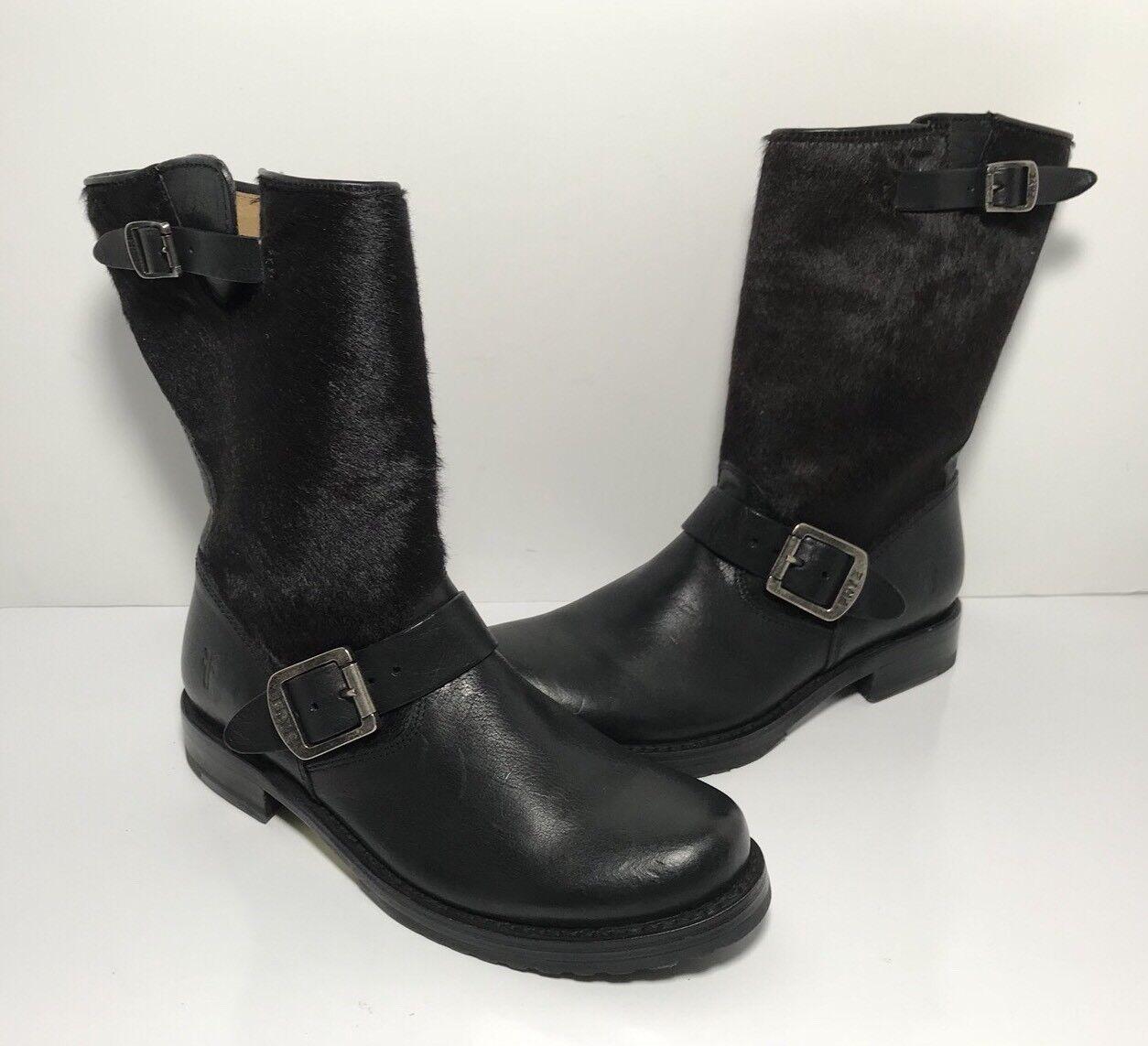 Frye Veronica Corto Piel De Cuero Negro botas para mujer B  76558
