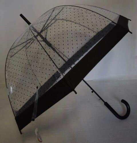 Parapluie transparent pois bordure noire 80 cm