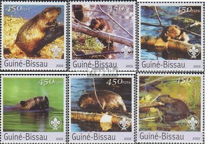 Never Hinged 2003 Beavers Stamps Practical Guinea-bissau 2470-2475 Unmounted Mint