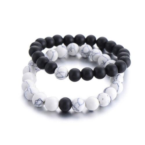 Les amateurs de Son Hers distance Guérison Bracelet Noir Blanc Lava Perles Assorties FC