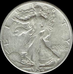 "A 1934 S Walking Liberty Half Dollar 90/% SILVER US Mint /""Average Circulation/"""