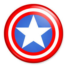 "Captain America Shield 25mm 1"" Pin Badge Button Marvel Comics Superhero"