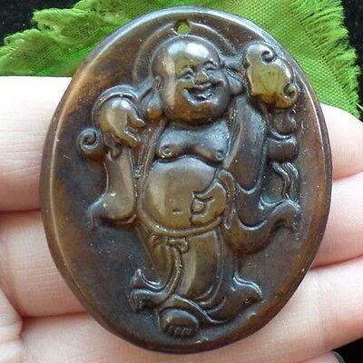 Q0044185 Beautiful Carved Chinese old jade Buddha Pendant Bead