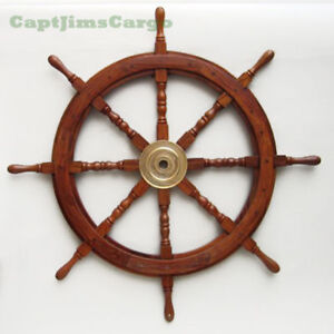 Large 36 Boat Ship Wooden Steering Wheel Br Center Nautical Wall Decor