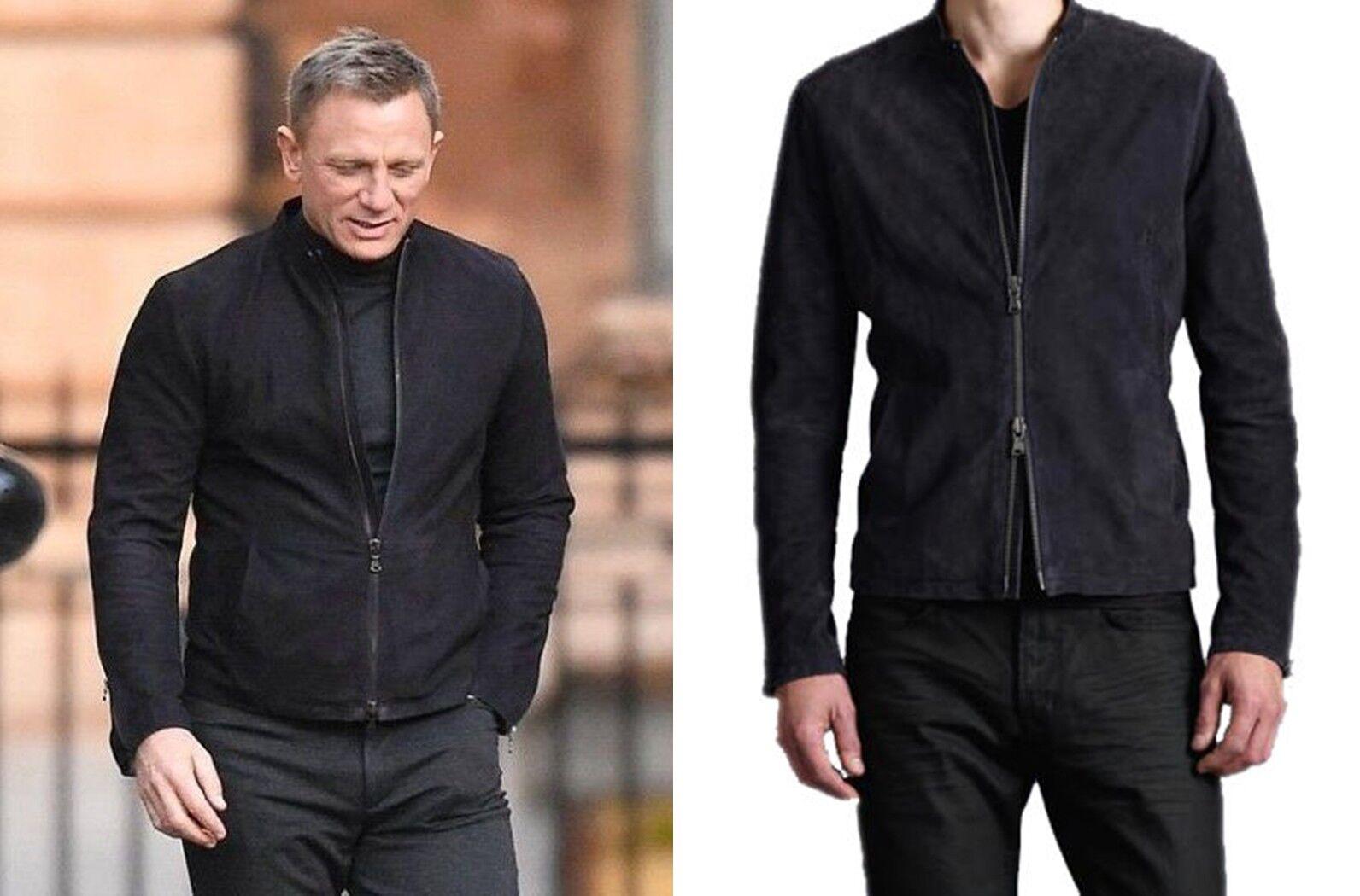 James Bond 007 Spectre  Chaqueta Negra De Cuero Gamuza Daniel Craig  Disfruta de un 50% de descuento.