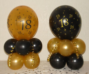 Image Is Loading 40th BIRTHDAY Black Gold BALLOON TABLE DECORATION DISPLAY