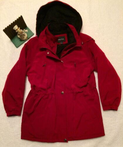 Jacket Crimson Léger Nouvel Femmes Sz Cagoulé Large Nautica Affichage zwqFO