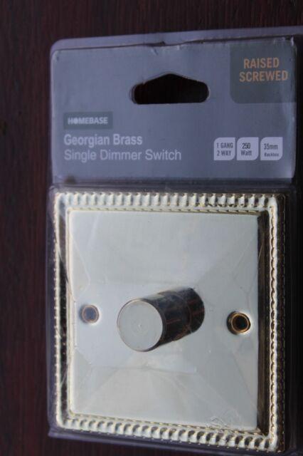 Homebase 3 Gang 2 Way Triple Light Switch Georgian Brass Rope Edge B16
