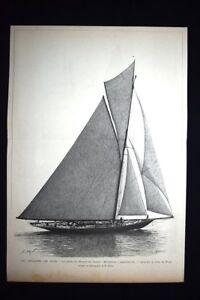 Barca-Principe-di-Galles-034-Britannia-034-vincitore-Regate-Nizza-Incisione-del-1894