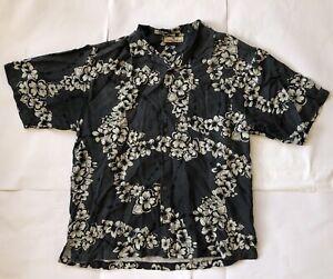 Tommy-Bahama-Men-039-s-Hawaiian-Camp-Shirt-Size-L-Black-Floral-Pattern-100-Silk