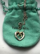 1991 Genuine Tiffany And Co 925 Heart And 18k Gold Bow Necklace