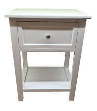 White Modern Wooden Small Bedside Table / Cabinet With Storage Shelf Underneath