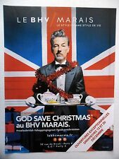 PUBLICITE-ADVERTISING :  BHV MARAIS God Save Christmas 2015 Union Jack,Guirlande