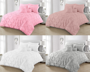 Duvet-Cover-Quilt-Set-Pintuck-Bedding-Super-King-Single-Double-With-Pillowcases