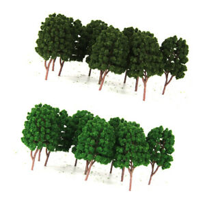 20pcs Green Tree Model Train Railroad Dioramas Wargame Garden Scenery HO