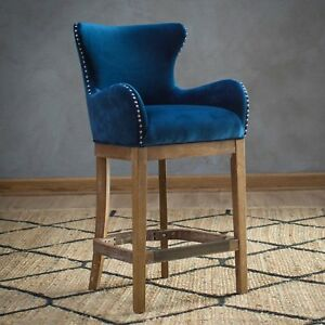 Outstanding Details About Traditional Wingback Navy Blue Fabric Upholstered Counter Stool W Back 27 Seat Inzonedesignstudio Interior Chair Design Inzonedesignstudiocom