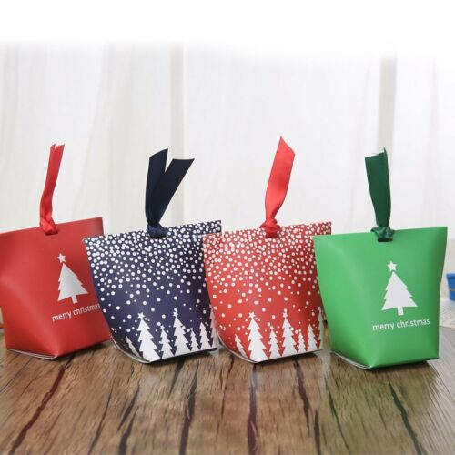 12//24Pcs Christmas Paper Bags Boxes Gift Present Sweets Candy Carrier Xmas Party