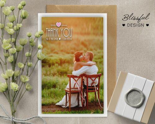 Personalised Wedding Thank You cards inc Envelopes Photo
