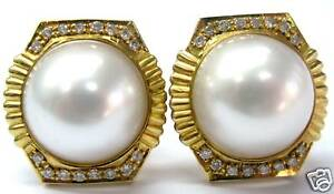 Mabe-Pearl-amp-Diamond-Solid-Yellow-Gold-Stud-Earrings-14K-15-5mm