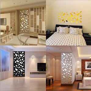 Diy removable 3 colors acrylic art 3d wall mirror sticker for 3d room color design