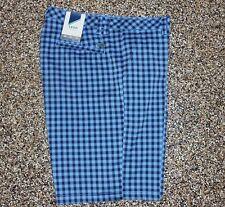 NWT Men's Izod Flat Front XFG Golf Shorts Sky Blue Plaid 34