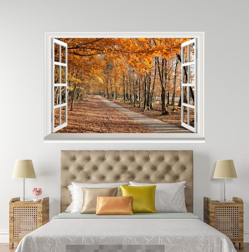 3D Deciduous Road 210 Open Windows WallPaper Wandbilder Wall Print AJ Jenny