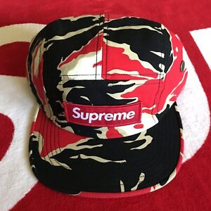 71e04461 Supreme Tiger Camo Camp Cap Hat Box Logo Red Camo SS16 CDG 100 ...