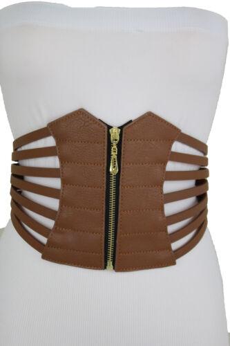 Women Wide Elastic Fashion Hip High Waist Brown Corset Belt Gold Zipper L XL XXL