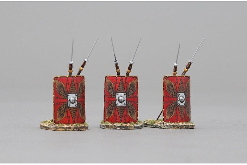 THOMAS GUNN ACCPAK025A - Three Roman Shields Standing (Red) Painted Metal