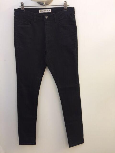 Country Road sz 8 Black Black Super Stretch Skinny Leg Jeans AS NEW