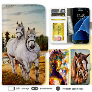 new styles dafd7 54057 Details about Galaxy Note 8 S8 S6 Case Horse Painting Print Wallet Leather  Cover for Samsung