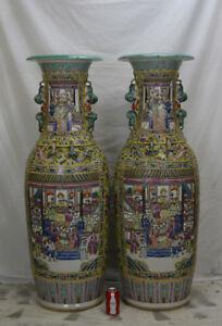 Pair-of-Huge-Chinese-Famille-Jaune-Figure-Floor-Porcelain-Vase