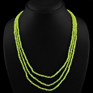 165-45-CTS-NATURAL-3-STRAND-RICH-GREEN-PERIDOT-ROUND-FACETED-BEADS-NECKLACE