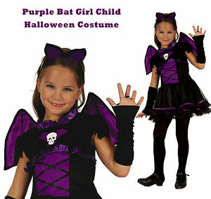 Image is loading Bat-Girl-Costume-Halloween-Witch-V&ire-Purple-Wings-  sc 1 st  eBay & Bat Girl Costume Halloween Witch Vampire Purple Wings Dress Gloves ...