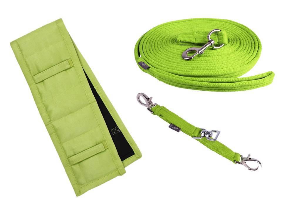 Longierset 3 pièces, longierpad, longe., Lunettes de longe Citron green