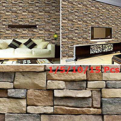 3D Brick Stone Rustic Effect Self-adhesive Wall Sticker Home Bedroom Decor CA