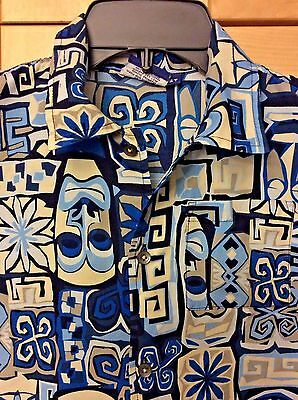 Sideout Boy's Blue & White Retro Mod Tiki Hawaiian 100% Polyester Surf Shirt 5T