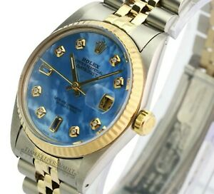 Rolex-Mens-Datejust-16013-Two-tone-Blue-MOP-Diamond-Dial-Fluted-Bezel-36mm