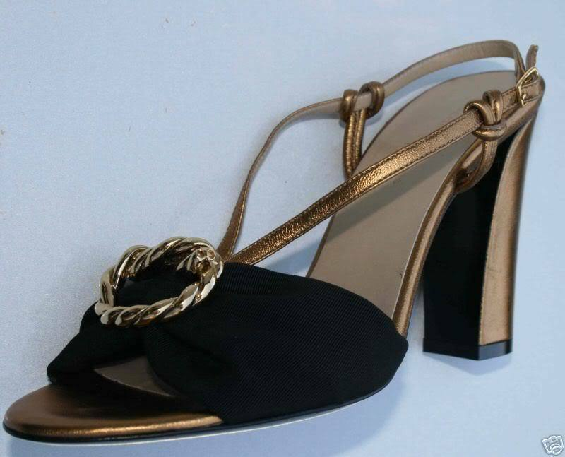 Balenciaga  $595 NEW Gold Black Sandals NEW $595 38 8 4b4b01