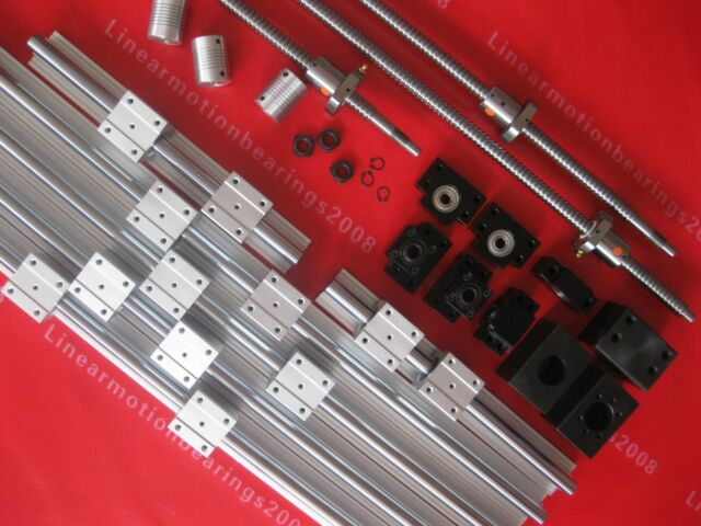 3 SBR20 rail guide ball screw sets +3 ballscrews RM1605+3BK/BF12 +3 couplers