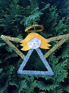 Hand Made Lollipop Stick Glitter Angel Christmas Decoration Ebay