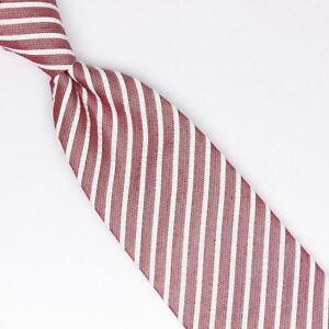 Josiah-France-Mens-Silk-Cotton-Necktie-Red-White-Seersucker-Stripe-Weave-Tie