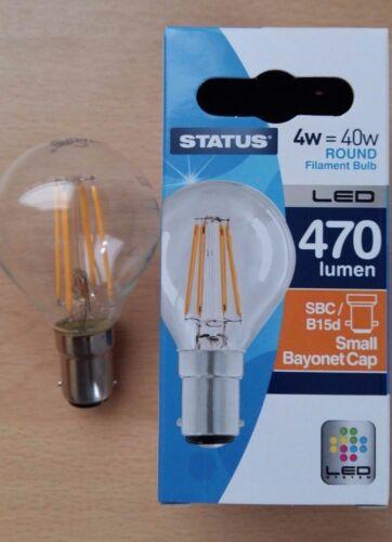 4w LED Round Clear Filament Light Bulb SBC Small Bayonet Cap B15d  Push In 40w