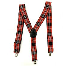 New Tartan Braces Plus  Red Tie Scottish Fancy Dress 70s Punk Nerd